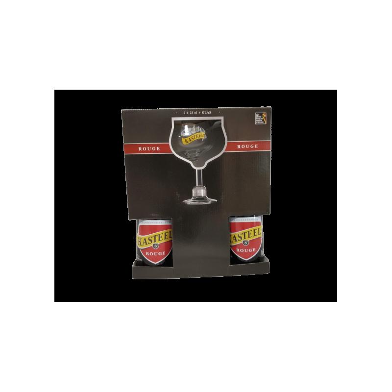 COFFRET KASTEEL ROUGE 2X75CL + 1 VERRE